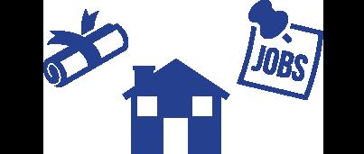 school, home, jobs travel icon