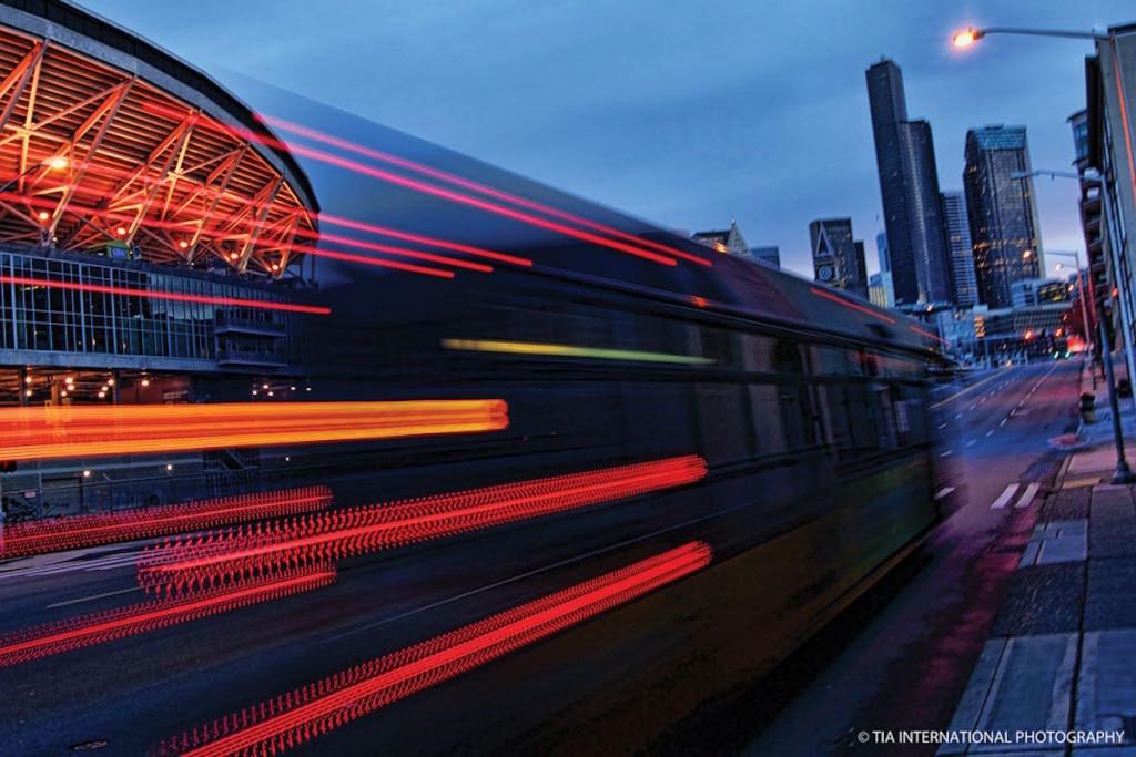 King County Metro bus at night