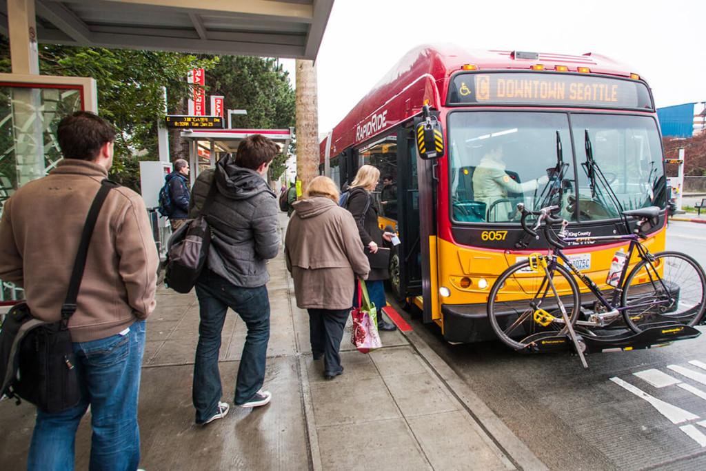 Metro RapidRide bus at a stop