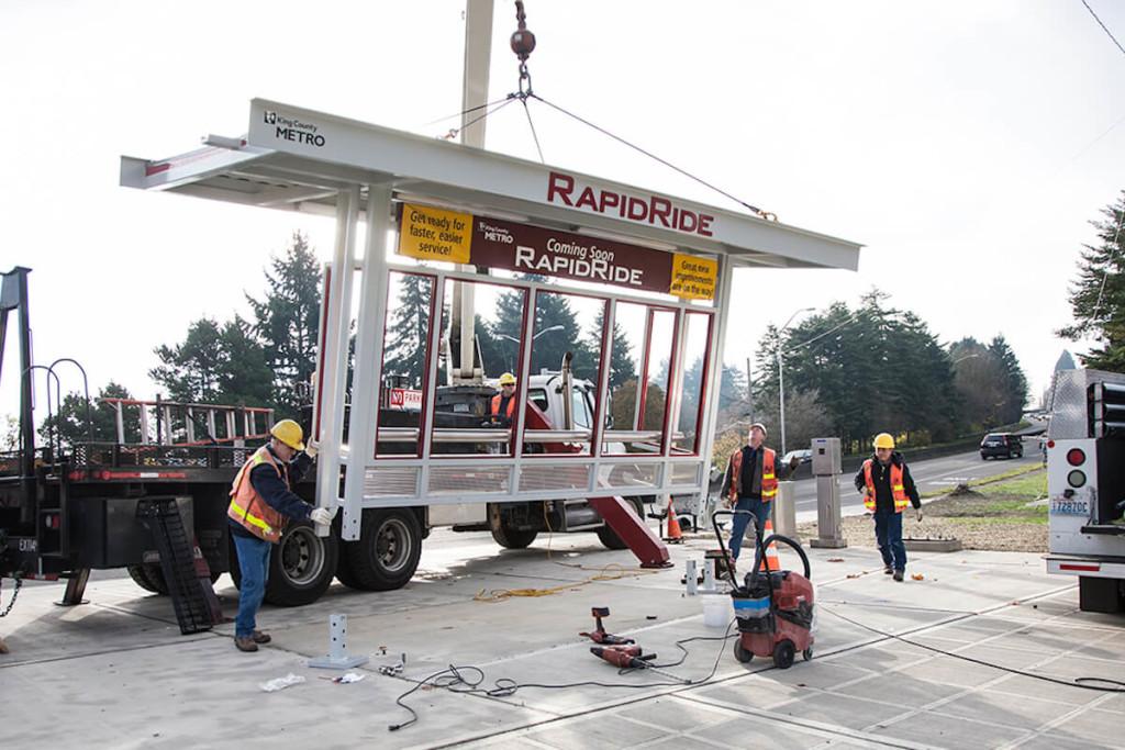 RapidRide Stop being installed